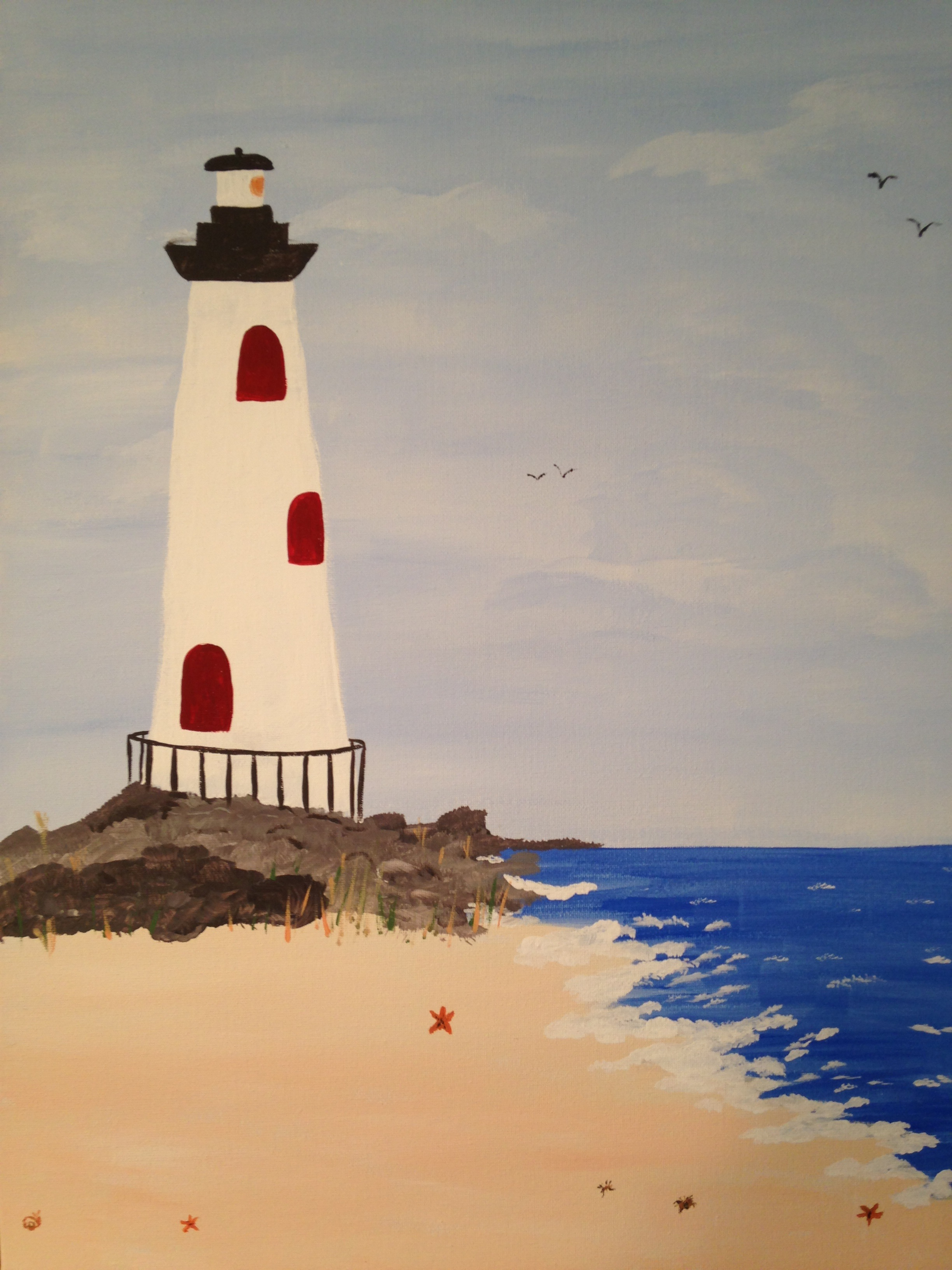 A Lighthouse Calm paint nite project by Yaymaker