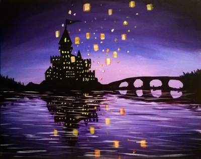 A Castle Lanterns paint nite project by Yaymaker