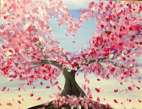 A Cherry Blossom Love paint nite project by Yaymaker