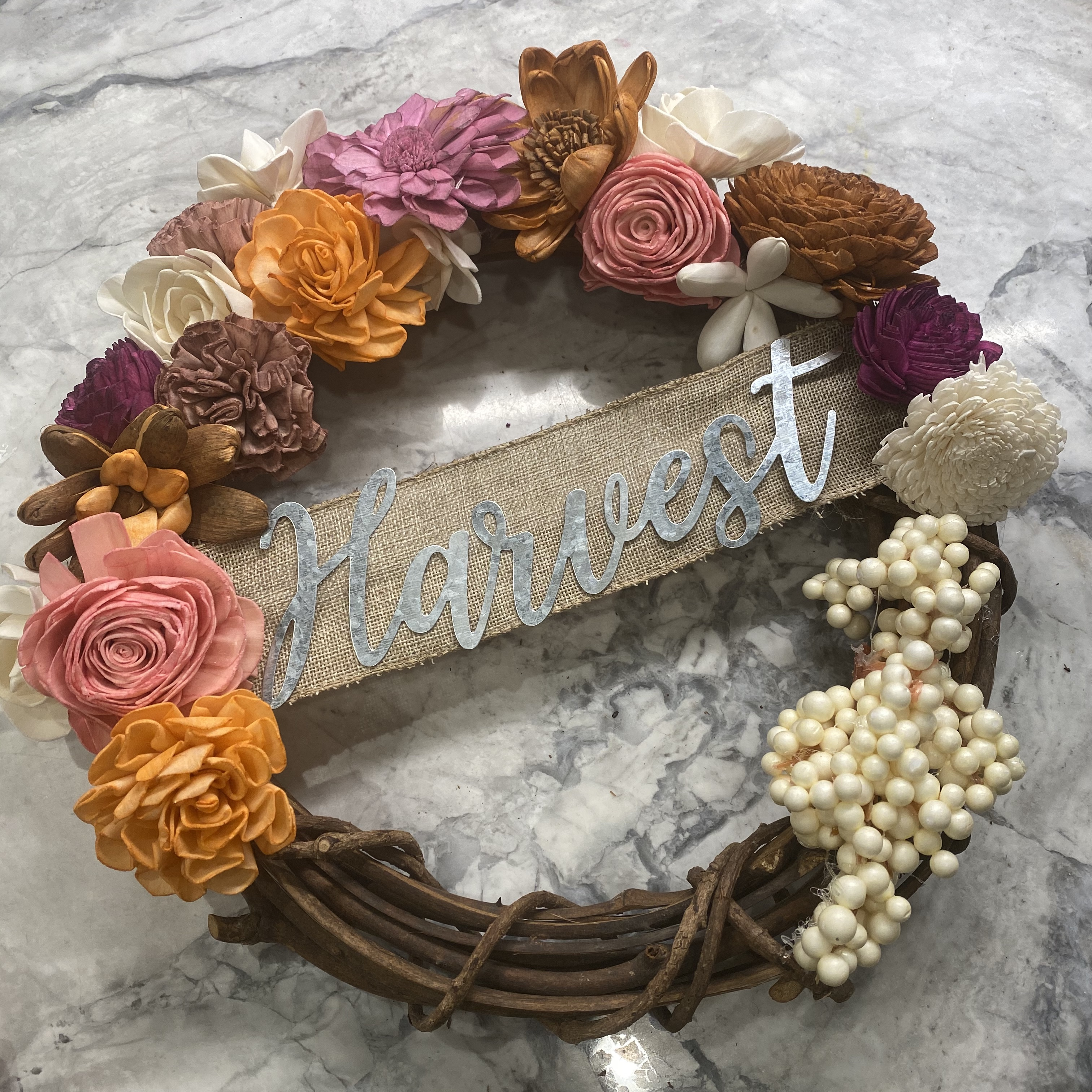 A Harvest Wood Flower Wreath Paint Your Flowers Supplies Shipped to Door TeamTavarone experience project by Yaymaker