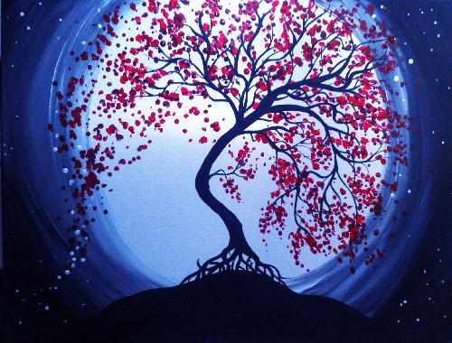 A Blue Moon Cherry Blossoms paint nite project by Yaymaker