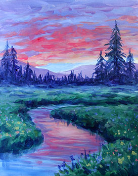A Dawn on the Meadow paint nite project by Yaymaker