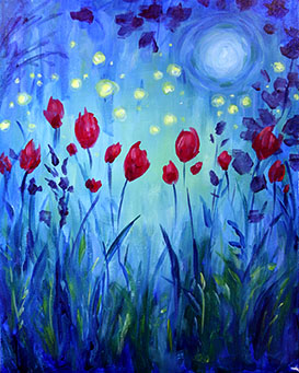 A Moonlight Garden paint nite project by Yaymaker