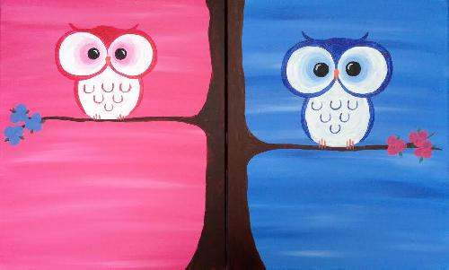 A Baby Big Eyes Partner Painting paint nite project by Yaymaker