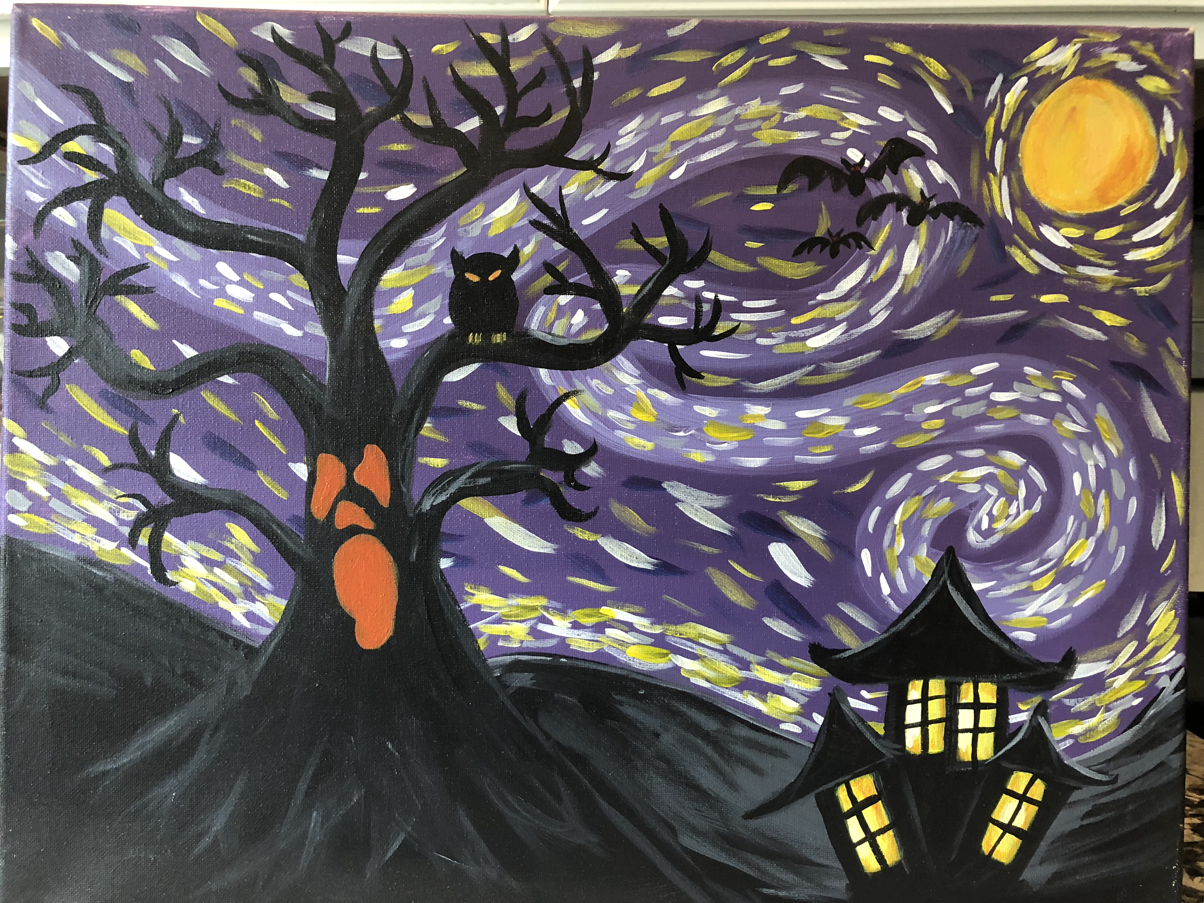 A Scary Scary Night paint nite project by Yaymaker