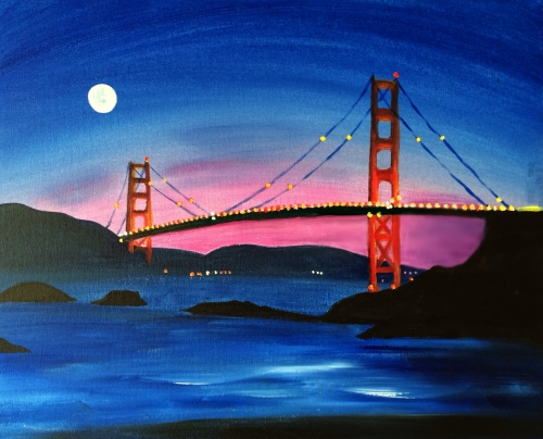 A Moon Over Golden Gate Bridge paint nite project by Yaymaker