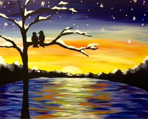 A Winter Sunset Lovers paint nite project by Yaymaker