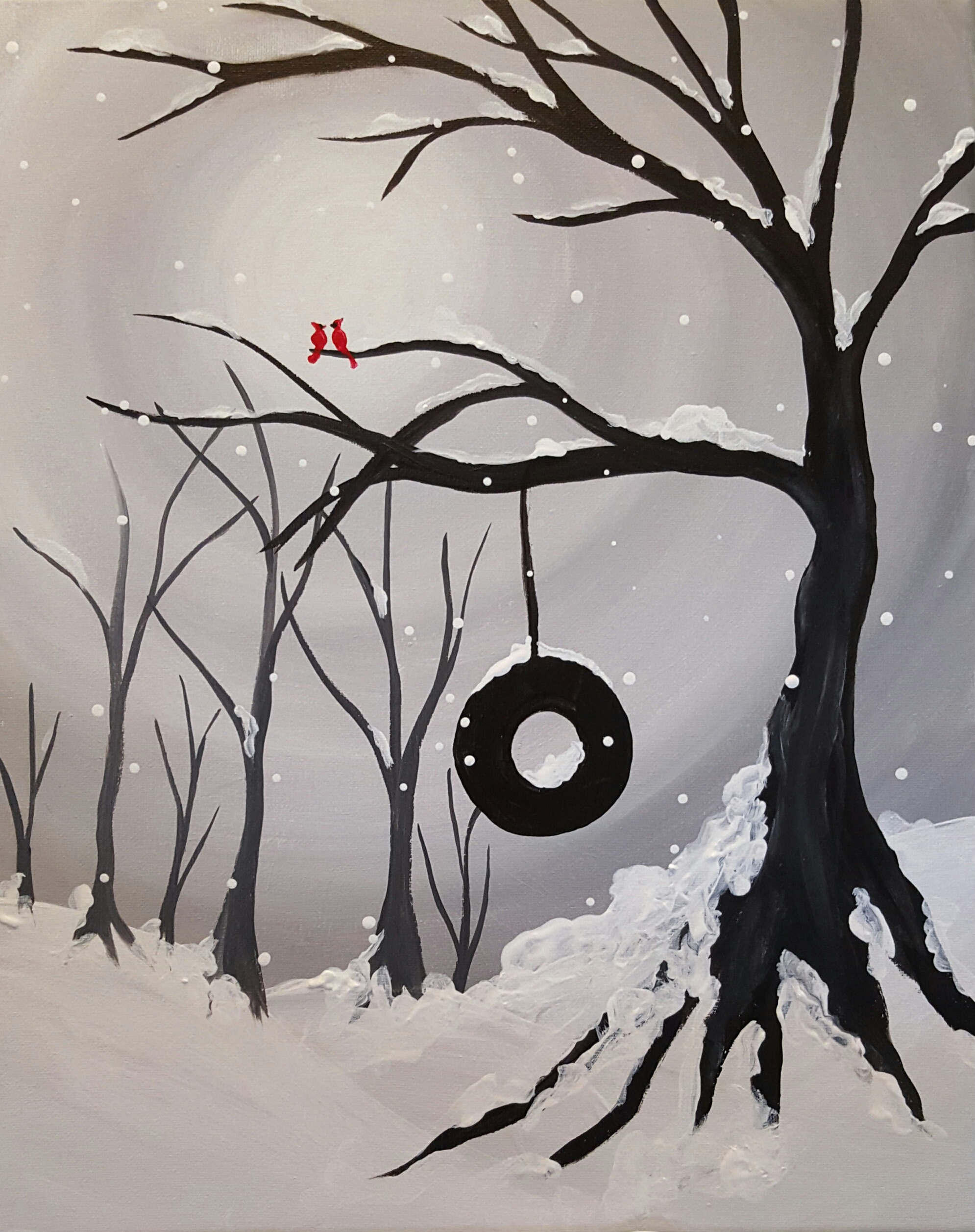 A Winter Swing in the Park paint nite project by Yaymaker