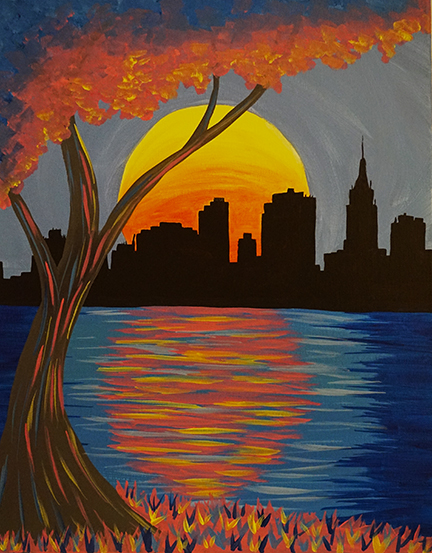 A Cotton Candy New York paint nite project by Yaymaker