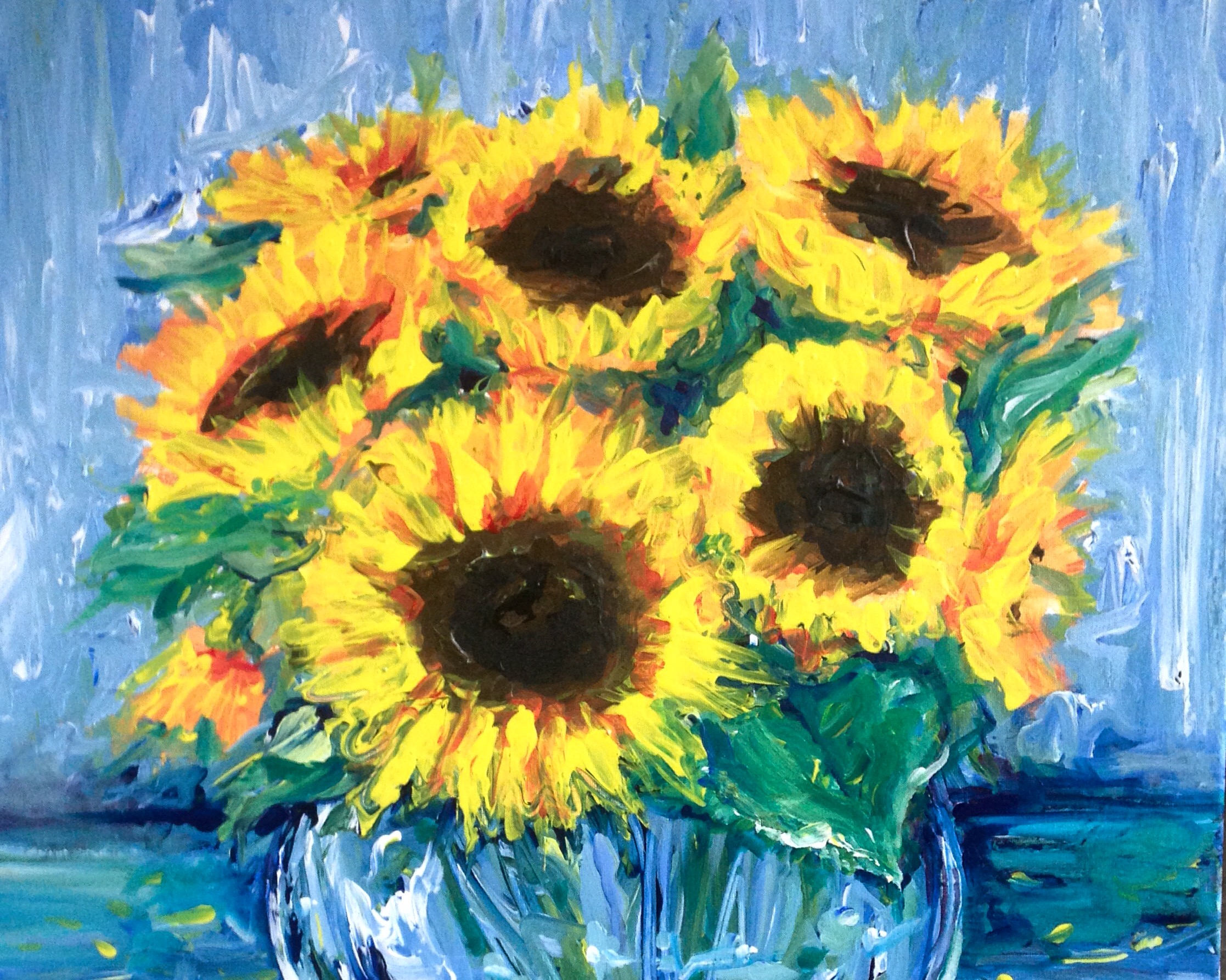 A Blue Room Sunflowers paint nite project by Yaymaker