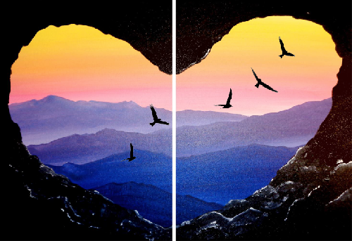 A Soaring Love Partner Painting paint nite project by Yaymaker