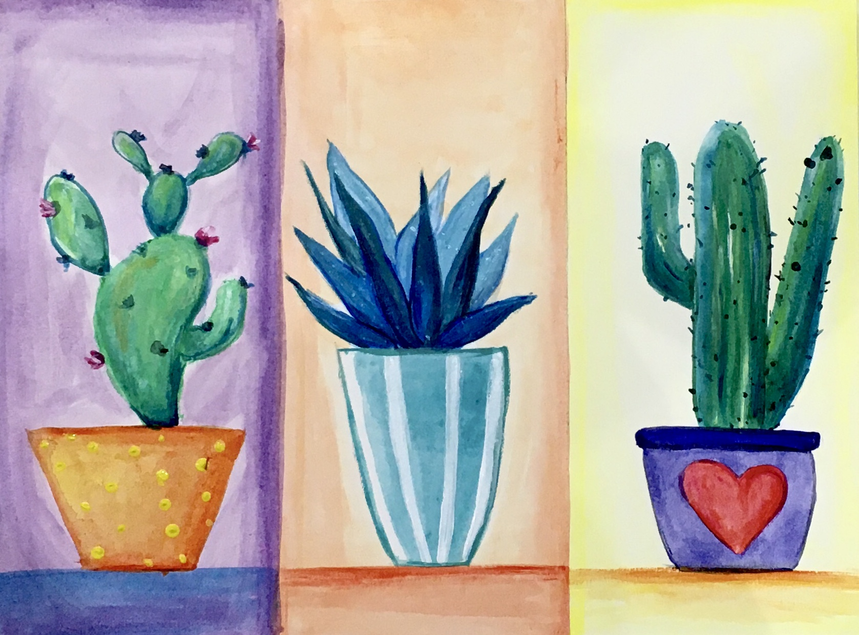 A WatercolourAcrylic Cactus experience project by Yaymaker
