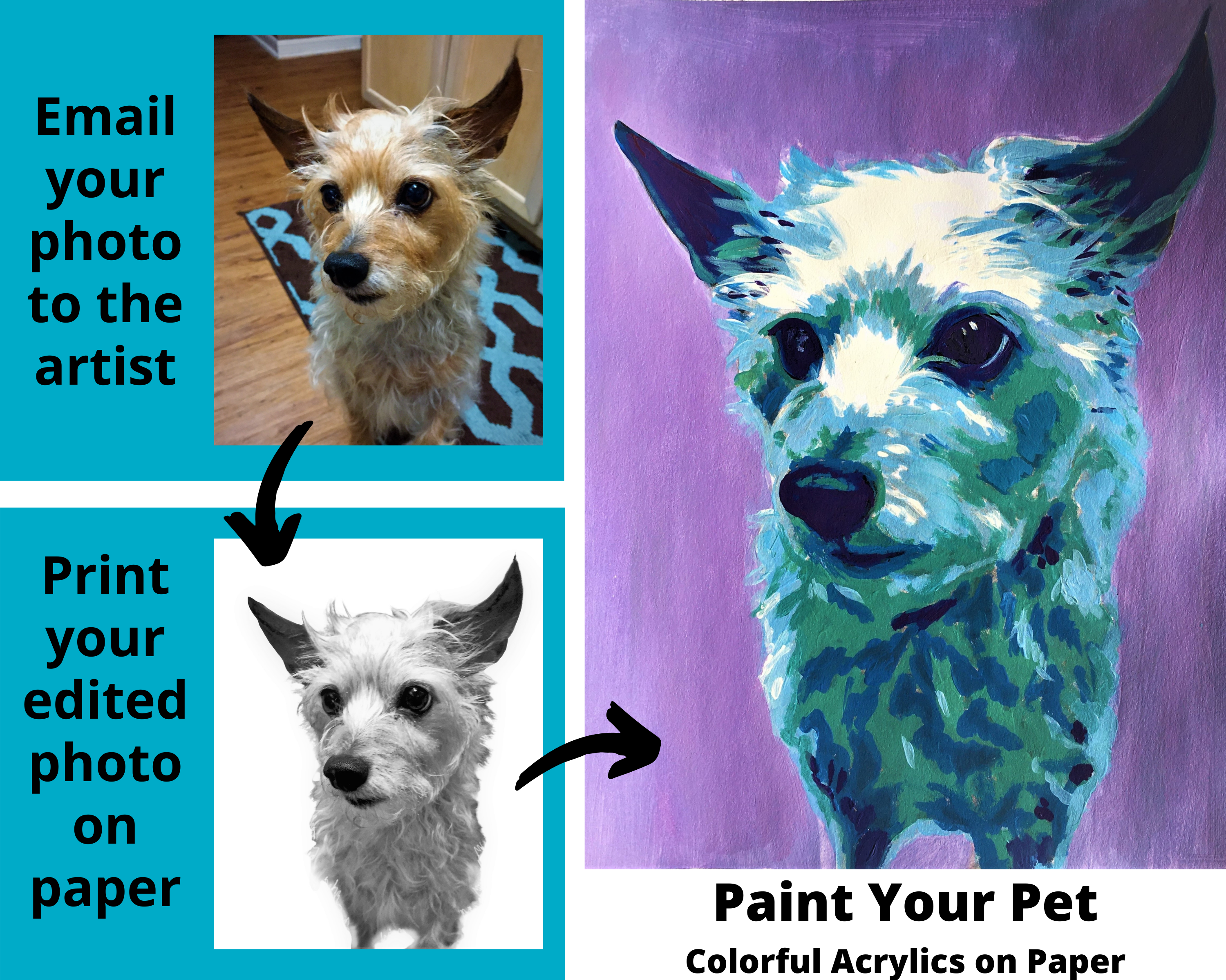 A Paint Your Pet Colorful Acrylics on Paper experience project by Yaymaker