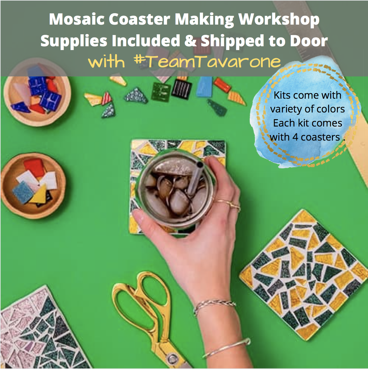 A Mosaic Coaster Making Workshop Team Tavarone Supplies Shipped to Door experience project by Yaymaker